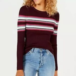 Hooked Up by Iot Juniors' Striped Ribbed  Sweater